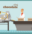 Man packing boxes of chocolate on factory conveyor vector image