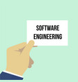 man showing paper software engineering text vector image