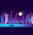 night city with muslim mosque skyscrapers vector image