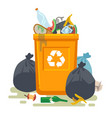 overflowing trash can food garbage in waste bin vector image