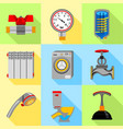plumbing service icons set flat style vector image vector image
