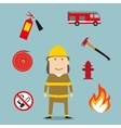 Powerful fireman with fire fighting tools vector image