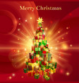 red merry christmas gift tree design vector image vector image