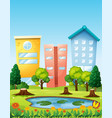 scene with three buildings by the pond vector image vector image