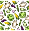 Seamless fresh farm vegetables pattern vector image vector image