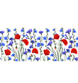 seamless rim border with herbs and wild flowers vector image vector image