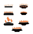 set gas icons with burner vector image vector image