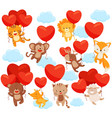 set of cute animals flying in the sky with heart vector image