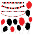 set of flat black and red isolated silhouettes vector image