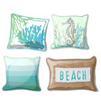 set of pillows with a stylish print in turquoise vector image vector image