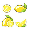 set yellow lemons in pop art retro comic style vector image