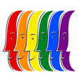smiling faces lgbt movement rainbow flag vector image