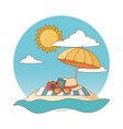 summer vacation beach objects cartoon vector image