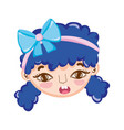 sweet little girl face with ribbon in blue hair vector image vector image