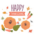 thanksgiving with vegetables and text happy vector image vector image