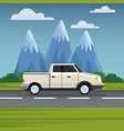 vehicle in highway vector image vector image
