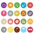 Weather flat icons on white background vector image
