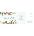 wedding postcard romantic card elegant pink rose vector image vector image