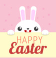white rabbit happy easter sign vector image vector image