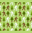 yeti in forest pattern seamless bigfoot and trees vector image vector image