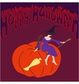 Young witch sitting on the pumpkin vector image vector image