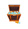 cartoon wooden chest filled with blue diamonds vector image
