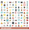 100 java icons set flat style vector image