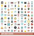 100 java icons set flat style vector image