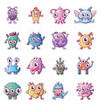 alien scary monster icons set cartoon style vector image vector image