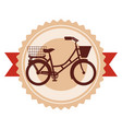 antique bicycle with basket emblem vector image vector image