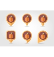 Apricot mapping pins icons vector image vector image