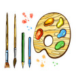 artistic brushes and palett set vector image vector image