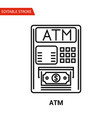 atm icon thin line vector image vector image