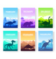 brochures with set of colorful primitive dinosaurs vector image