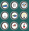 Business icons set flat style over silver backgrou vector image vector image