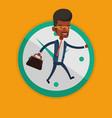 businessman running on clock background vector image