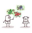 cartoon doctor and plants medicine vector image