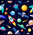 cartoon space pattern astronomical planets vector image