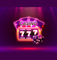 casino neon cover slot machines and roulette with vector image