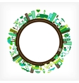 Circle with green city vector | Price: 1 Credit (USD $1)