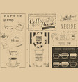 coffee menu craft placemat vector image