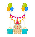cute cat with a party hat and presents vector image
