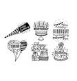cute happy birthday greetings inscriptions design vector image