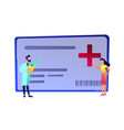 doctor with clipboard female patient and medical vector image