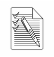 Document with plan and pen icon outline style vector image vector image