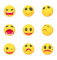funny emoji icons set cartoon style vector image