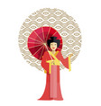 geisha in kimono with umbrella vector image