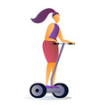 girl is riding a hoverboard flat cartoon vector image vector image