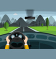 hands on steering wheel car on road with vector image vector image