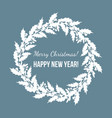 holly and mistletoe wreath christmas and new year vector image vector image